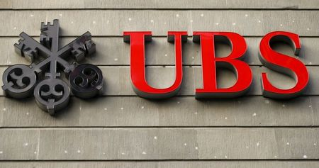 The logo of Swiss bank UBS is seen at an office building in Zurich