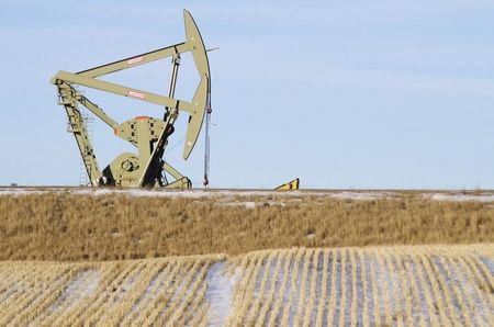 An oil pumpjack operates near Williston