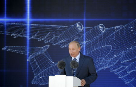Russian President Putin delivers speech during opening ceremony of MAKS International Aviation and Space Salon in Zhukovsky