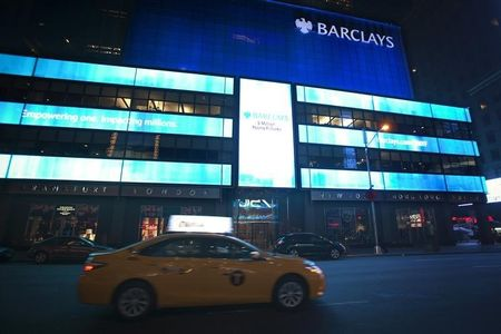 The Barclays logo on their building in Times Square, Manhattan, New York