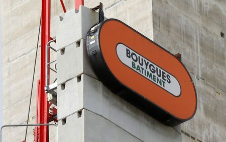 View of a Bouygues company logo on a construction crane at the building site of the new Law Court complex in Paris