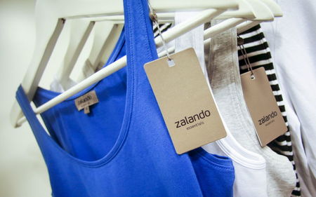 File photo of Zalando labels on items of clothing in a showroom of the fashion retailer Zalando in Berlin
