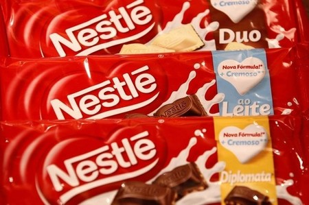 Chocolate packets are displayed in the showroom at the headquarters of Nestle in Vevey