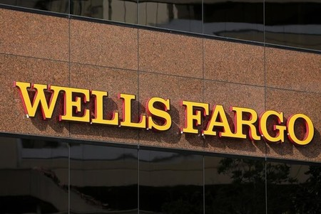 The logo on a Wells Fargo bank building is seen in downtown San Diego