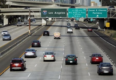 Cars travel north towards Los Angeles on interstate highway 5 in San Diego