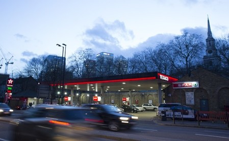A Texaco service station displays the price of petrol and diesel close to the financial centre of London