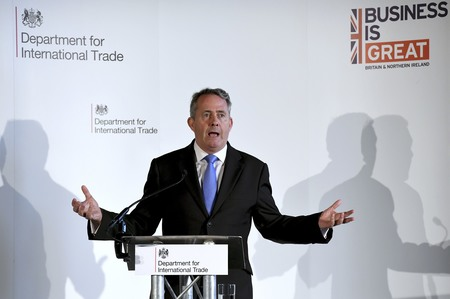 International Trade Secretary Liam Fox delivers a speech at Manchester Town Hall in Manchester