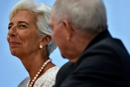 IMF Director General Christine Lagarde during a panel discussion at the annual meetings of the IMF and World Bank Group in Washington