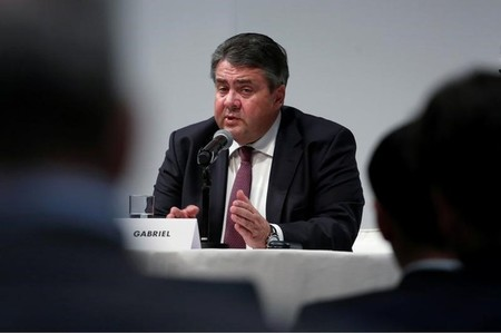 Sigmar Gabriel, Germany's Minister of Economic Affairs and Energy, speaks during a news conference at Asia-Pacific Conference of German Business in Hong Kong
