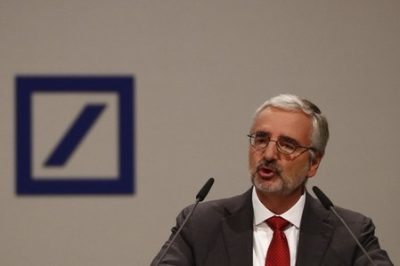 Deutsche Bank supervisory board chairman Achleitner addresses the bank's annual general meeting in Frankfurt
