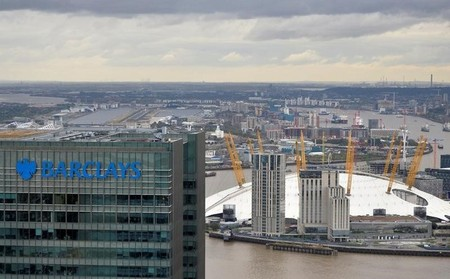 A Barclays bank office is seen at Canary Wharf in London