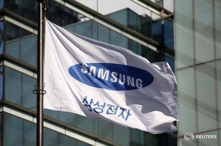 A flag bearing the logo of Samsung Electronics is pictured at its headquarters in Seoul