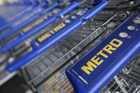 File photo of shopping carts of Germany's biggest retailer Metro AG lined up at a Metro cash and carry market in St. Augustin