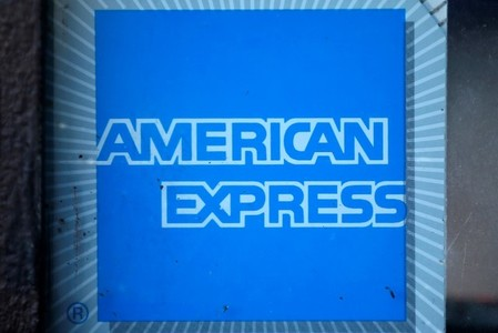 The logo of Dow Jones Industrial Average stock market index listed company American Express (AXP) is seen in Los Angeles