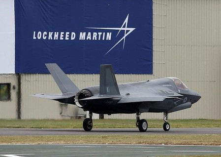 A RAF Lockheed Martin F-35B fighter jet taxis along a runway after landing at the Royal International Air Tattoo at Fairford
