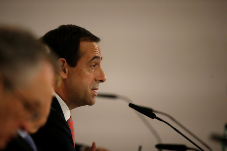 CaixaBank CEO Gonzalo Gortazar speaks during a news conference in Lisbon