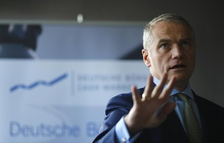 Kengeter, CEO of Deutsche Boerse talks to the media during the presentation of FinTec start-up facilities provided by Deutsche Boerse in Frankfurt