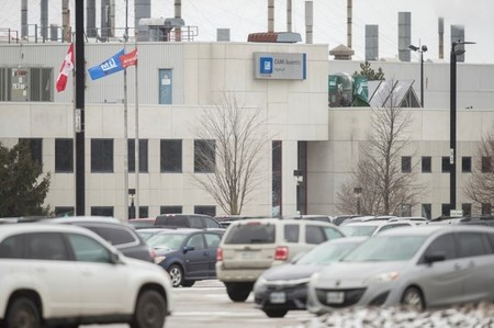 The General Motors CAMI car assembly plant, where the GMC Terrain and Chevrolet Equinox are built, is seen in Ingersoll
