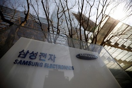 The logo of Samsung Electronics is seen in front of its building in Seoul