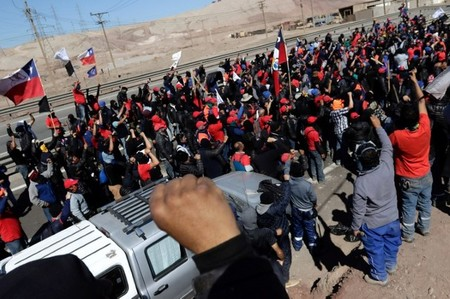 Workers from BHP Billiton's Escondida, the world's biggest copper mine, demonstrate during a strike, in Antofagasta