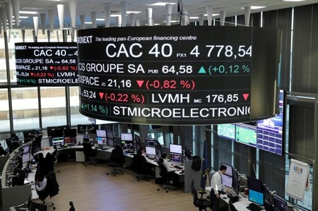 Stock index price for France's CAC 40 and company stock price information are displayed on screens as they hang above the Paris stock exchange, operated by Euronext NV, in La Defense business district in Paris