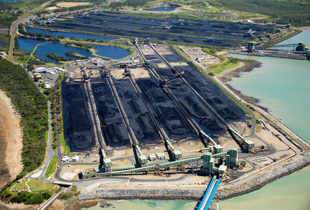 FILE PHOTO: Coal sits at the Hay Point and Dalrymple Bay Coal Terminals that receive coal along the Goonyella rail system in Australia