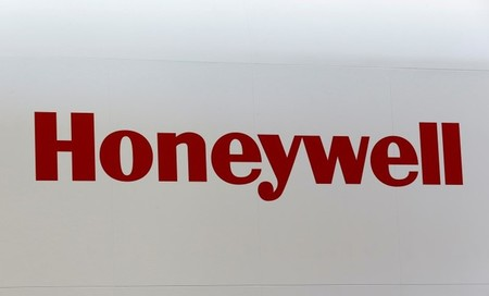 A Honeywell logo is pictured on the company booth during the European Business Aviation Convention & Exhibition (EBACE) at Cointrin airport in Geneva