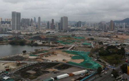Land development at the Kai Tak area, which is the location of city's former airport, in Hong Kong, China