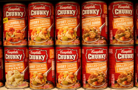 FILE PHOTO: Cans of Campbell's brand Chunky soups are seen at the Safeway store in Wheaton Maryland