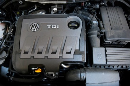 FILE PHOTO: A Volkswagen Passat TDI diesel engine is seen in London