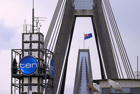 FILE PHOTO: The logo of Network Ten Pty Ltd is displayed above the company's headquarters in Sydney, Australia