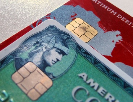 Computer chips are seen on newly-issued credit cards in this photo illustration taken in Encinitas, California
