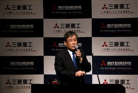 Mitsubishi Heavy Industries President and Chief Executive Shunichi Miyanaga attends a news conference in Tokyo