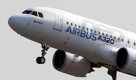 FILE PHOTO: The Airbus A320neo takes off during its first flight event in Colomiers near Toulouse, southwestern France