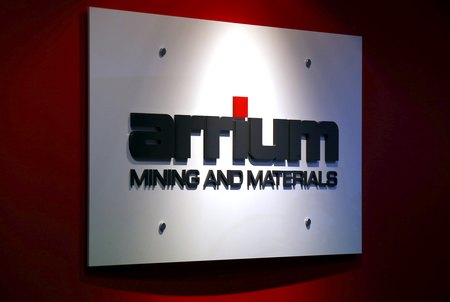 FILE PHOTO: The logo of Australian miner Arrium Ltd is displayed in the reception area of their office in Sydney