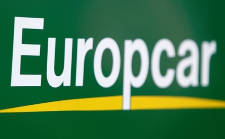 The logo of Europcar rental company is pictured in Ulm