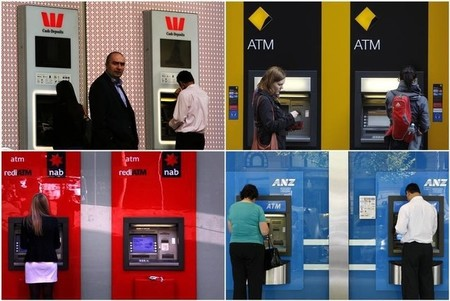 A combination of photographs shows people using automated teller machines (ATMs) at Australia's
