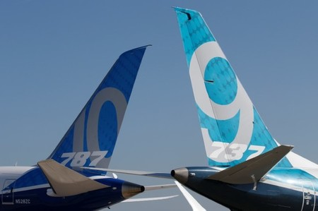 Empennage of Boeing 737 MAX and 787 are seen before 52nd Paris Air Show at Le Bourget near Paris