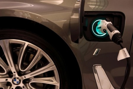 FILE PHOTO - A BMW plug-in hybrid vehicle is seen in a BMW shop at Siam Paragon mall in Bangkok