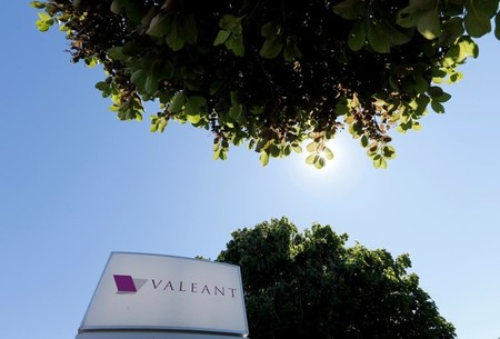 FILE PHOTO: A sign for the headquarters of Valeant Pharmaceuticals International Inc is seen in Laval Quebec