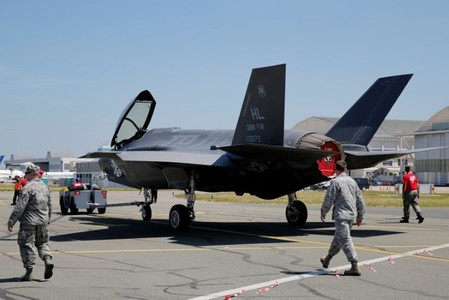 F-35 Lightning II aircraft is moved on the eve of Paris Air Show at Le Bourget Airport near Paris