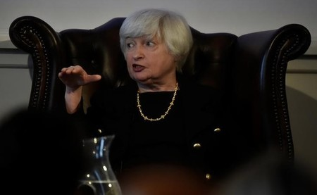 The Federal Reserve Board Chairwoman Janet Yellen speaks during a discussion at The British Academy President's Lecture in London