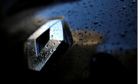 FILE PHOTO - Raindrops cover the logo of French car manufacturer Renault on a automobile seen in Paris