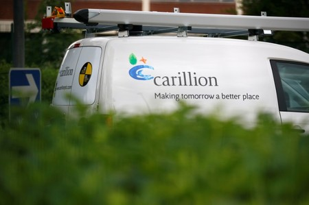 FILE PHOTO: A Carillion sign can be seen on a van in Manchester