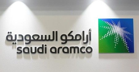 FILE PHOTO: Logo of Saudi Aramco is seen at the 20th Middle East Oil & Gas Show and Conference in Manama