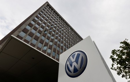 A VW logo is seen in front of the main building of the Volkswagen brand at the Volkswagen headquarters during a media tour to present Volkswagen's so called