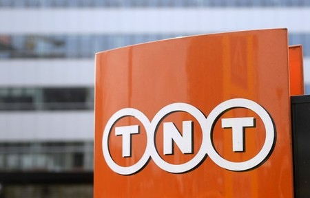 TNT Express logo is pictured at headquarters in Hoofddorp