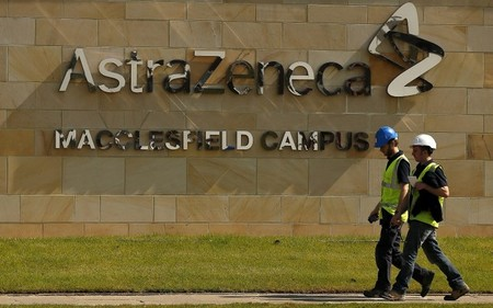 FILE PHOTO: FILE PHOTO: A sign is seen at an AstraZeneca site in Macclesfield