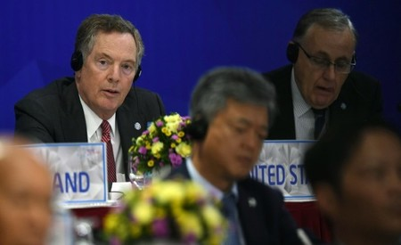 US Trade Representative Robert Lighthizer listens while attending a joint press conference held on the sideline of the APEC Ministers Responsible For Trade (APEC MRT 23) meeting in Hanoi