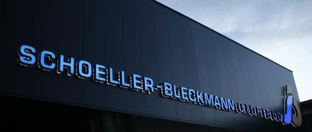 The logo of Schoeller-Bleckmann Oilfield Equipment is pictured at its headquarters in Ternitz